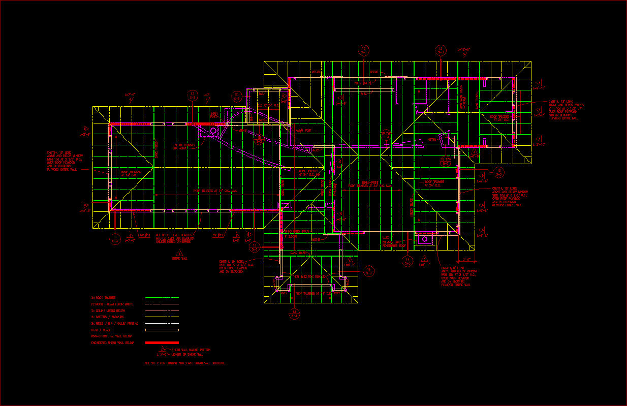 Roof framing plan autocad images for Plan cad